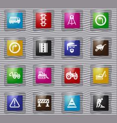 road repair glass icon set vector image
