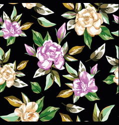 rose flowers seamless pattern black background vector image