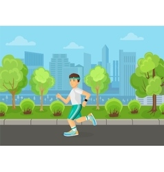 runner men running on street city park concept vector image