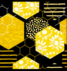 seamless geometric pattern with honeycomb trendy vector image