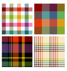 seamless multicolored checked patterns vector image