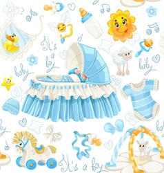 Seamless pattern of cribs toys and stuff its a boy vector