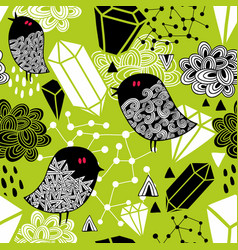 Seamless pattern with cute nightingales and red vector