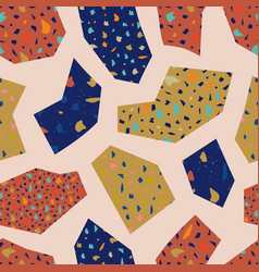 seamless terrazzo pattern with geometric elements vector image
