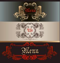 Set of antique menu designs luxury style vector