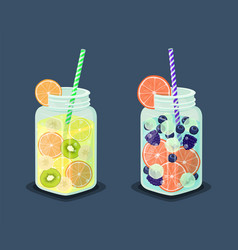 Set of mugs refreshing drink containing fresh kiwi vector