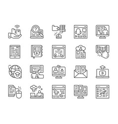 set online education line icons diploma vector image