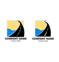 Set road beach logo design vector