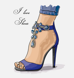 sketch shoes color vector image