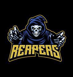 skull grim reaper mascot vector image