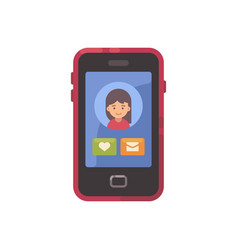 smartphone screen with a social app interface and vector image