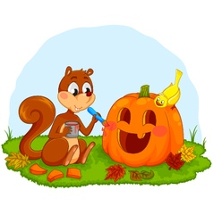 Squirrel decorating pumpkin vector