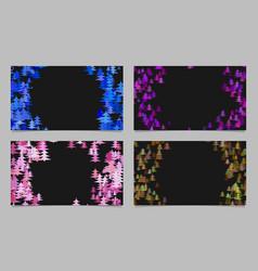 Stylized pine tree design card background set vector