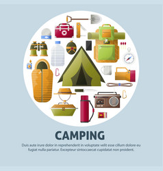Summer camping and forest camp poster vector