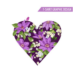 summer floral heart shape tropical flowers vector image
