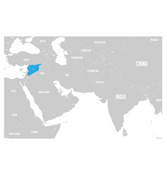 Syria blue marked in political map of south asia vector