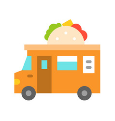 Taco truck food truck flat style icon vector