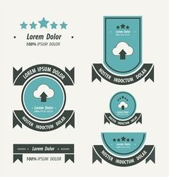 Upload cloud Label And Ribbon blue and black color vector