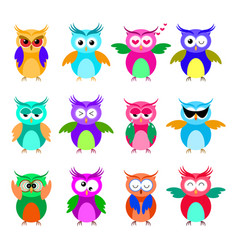 various cartoon owl emoticon set vector image