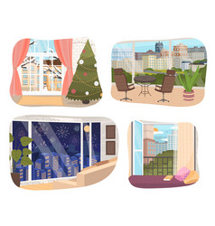 view from window large building scenes set vector image
