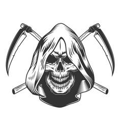 Vintage monochrome reaper skull in hood vector