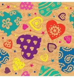 Vintage Vilentines color heart pattern vector