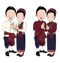 Wedding couple cartoon in thai dress vector
