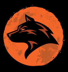 Wolf and moon logo template vector