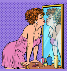 woman in nightgown kissing her reflection in the vector image