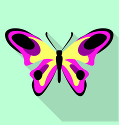 yellow pink butterfly icon flat style vector image
