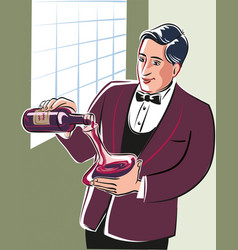 Young sommelier intent on pouring wine from a vector