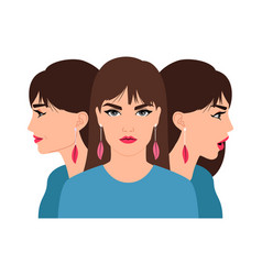 young woman color profile vector image