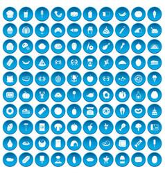 100 favorite food icons set blue vector image