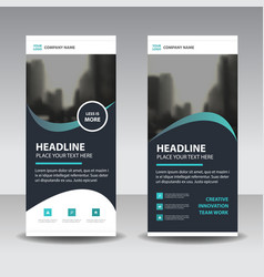 black green curve style business roll up banner vector image