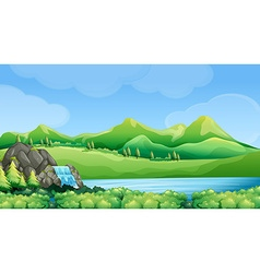Nature scene with waterfall and mountains vector image
