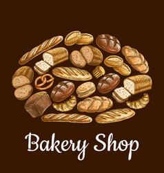 Bakery shop emblem in shape of bread loaf vector image vector image