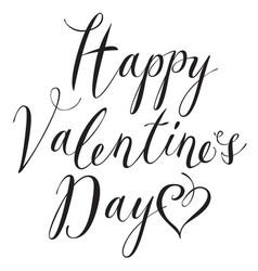 black inscription happy valentines day with hearts vector image vector image