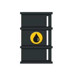 black oil barrel icon flat style vector image