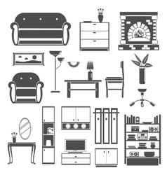 Interior Icons Black Set vector image vector image