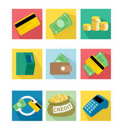 nine payment icons vector image
