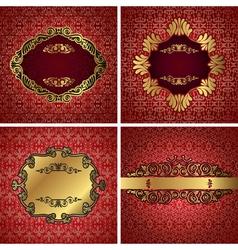 Vintage gold frame on red damask background vector image vector image