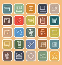 workspace line flat icons on orange background vector image vector image