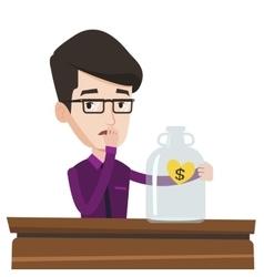 Bankrupt businessman looking at empty glass jar vector