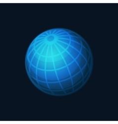 Blue Globe Network Icon on Dark Background vector image