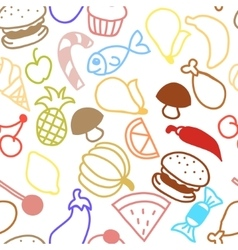 Cute fruit outline seamless texture vector image vector image