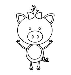 figure teddy pig bow head vector image