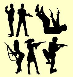gun weapon people shooting silhouette vector image vector image