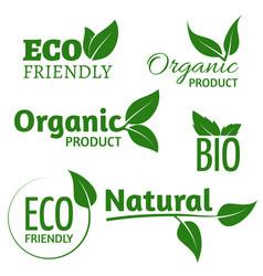 organic eco logos with green leaves bio vector image vector image