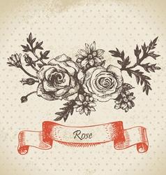Rose hand drawn vintage design vector image vector image