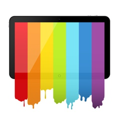 Tablet PC with rainbow paint vector image vector image